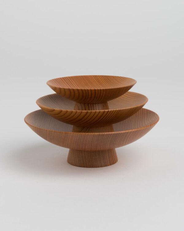 Hand-Made Akita Cedar Sakazuki Set (3 Sakazuki)