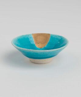 Yoshitaka Araki Turkish Blue with Gold Guinomi